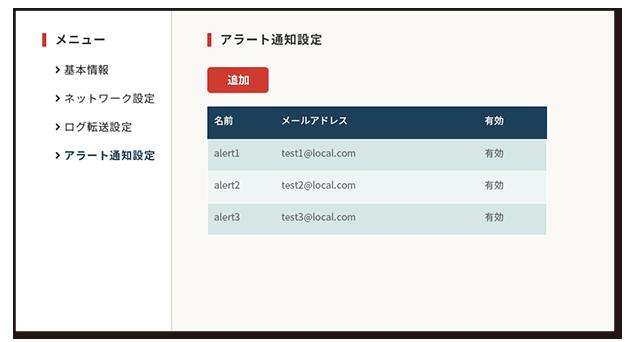 i-Auditor Platform アラート通知設定メニュー